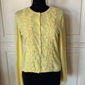 Lilly Pulitzer Yellow Cotton Embellished Cardigan